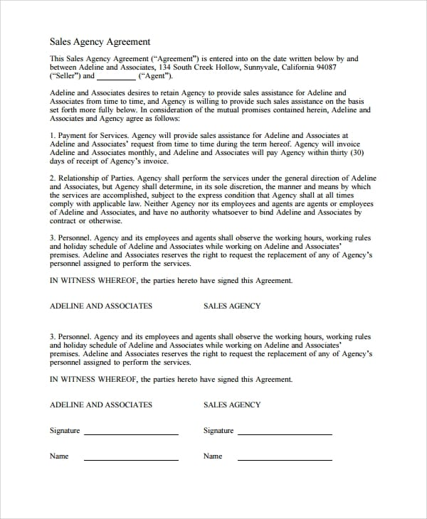Free Sales Agency Agreement For Sales Agency Agreement Template
