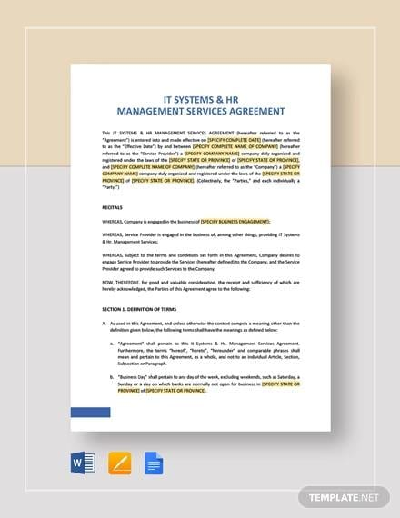 IT Systems HR Management Services Agreement Template for Hr Agreements