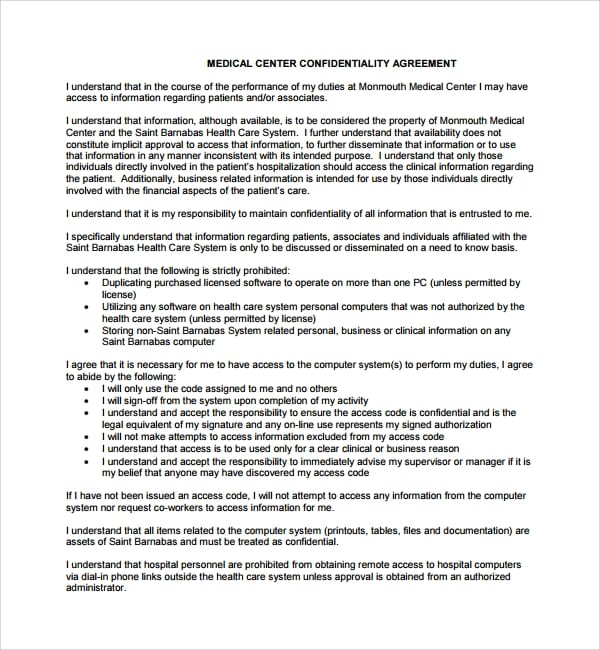 Medical Center Confidentiality Agreement For Medical Confidentiality Agreement