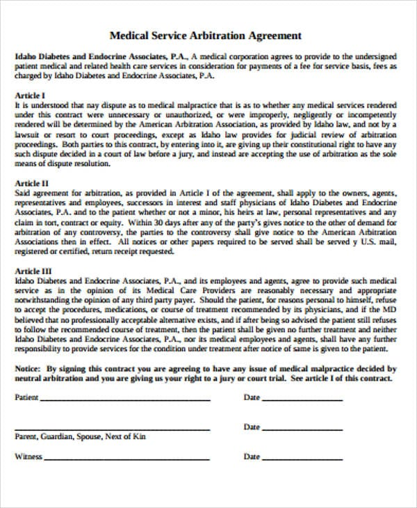 Medical Service Arbitration Agreement PDF For Arbitration Agreement