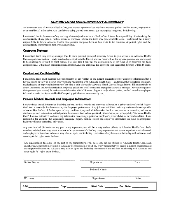 Non Employee Confidentiality Agreement For Sample Employee Confidentiality Agreement
