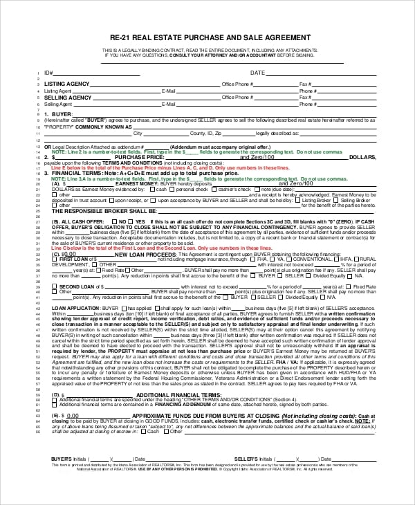 Real Estate Purchase Agreement Form For Real Estate Purchase Agreement