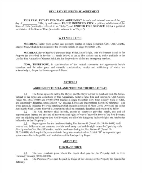 Real Estate Purchase Agreement Sample For Real Estate Purchase Agreement