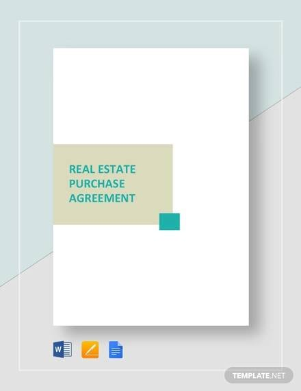 Real Estate Purchase Agreement Template For Real Estate Purchase Agreement