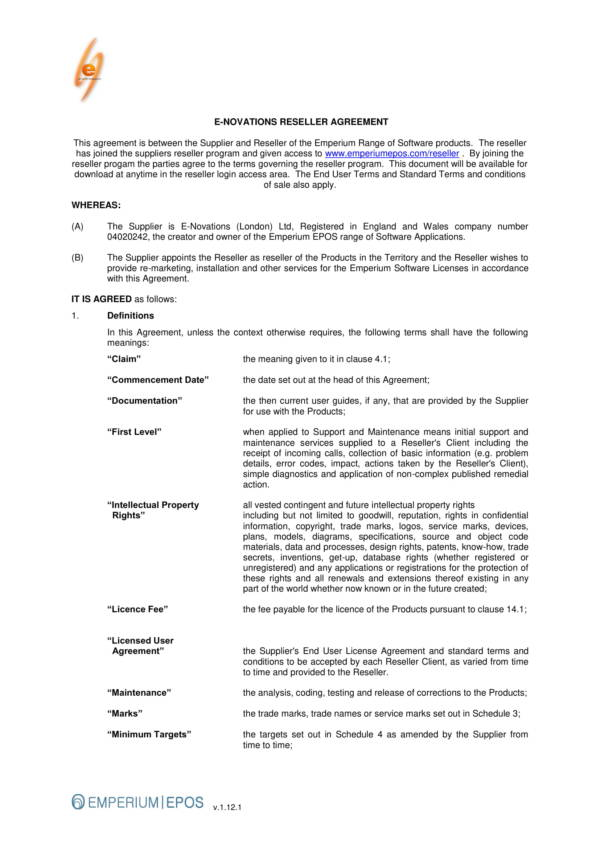 Reseller Agreement For Software Products For Reseller Agreement