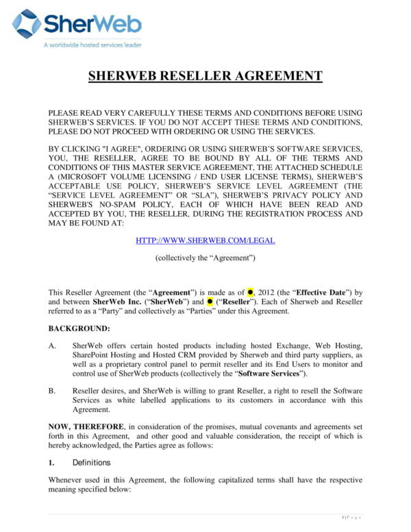 Reseller Agreement For Software Services For Reseller Agreement