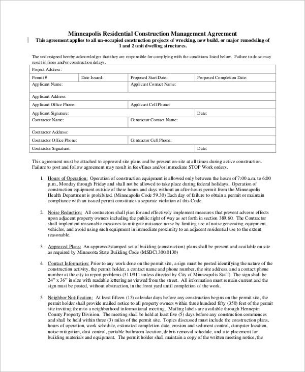 Residential Construction Management Agreement For Construction Management Agreement