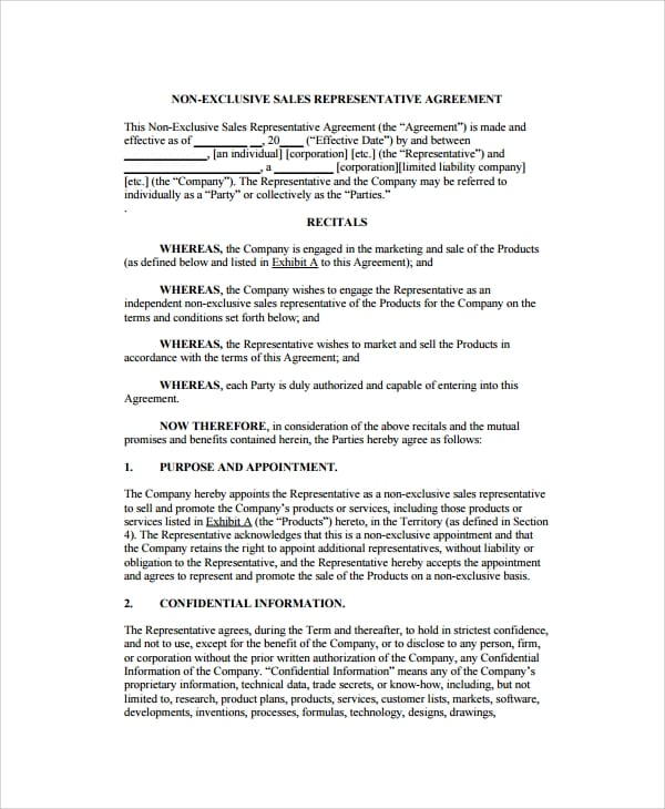 Sales Representative Agreement for Sales Agency Agreement Template