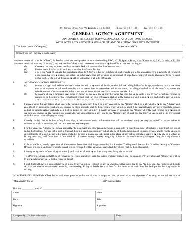 Sample General Agency Agreement1 for Business Agency Agreement