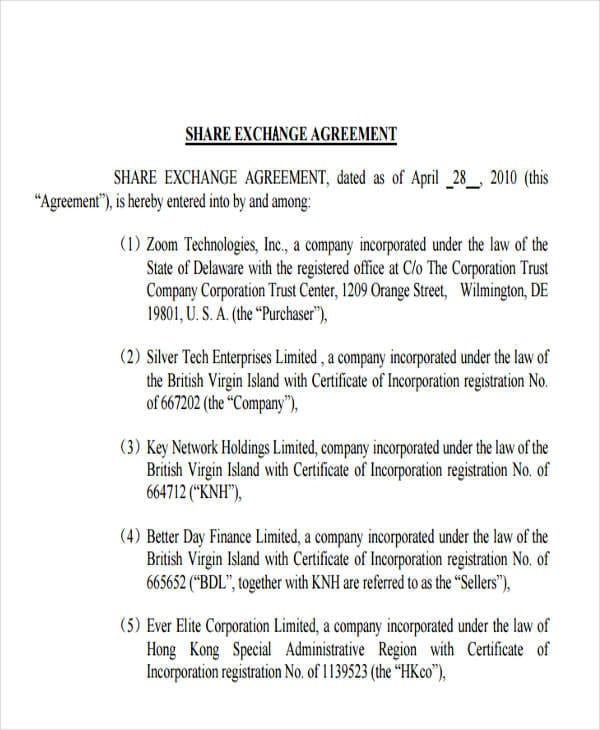 Share Agreement for Exchange Agreement