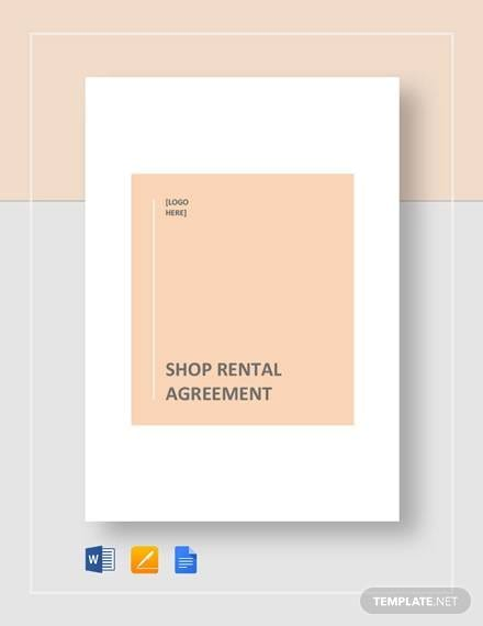 Shop Rental Agreement Template for Rental Agreement Format Pdf Word