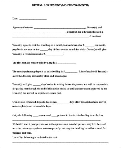 Simple Apartment Rental Agreement Form for Apartment Rental Agreement Sample