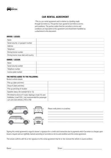 Simple Car Rental Agreement Sample 1 for Personal Car Rental Agreement Samples