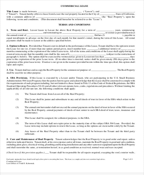 Simple Commercial Lease Agreement Form PDF For Simple Commercial Lease Agreement