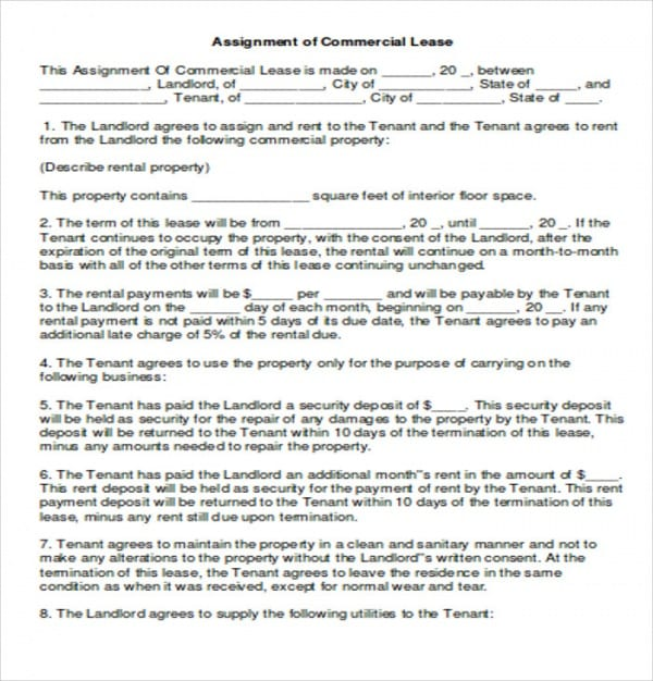 Simple Commercial Lease Assignment Agreement For Simple Commercial Lease Agreement