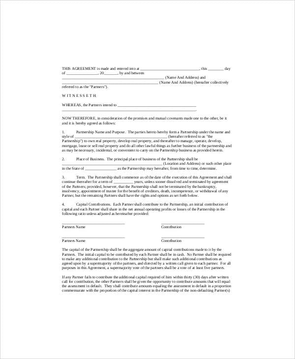 Simple Small Business Partnership Agreement for Simple Business Partnership Agreement