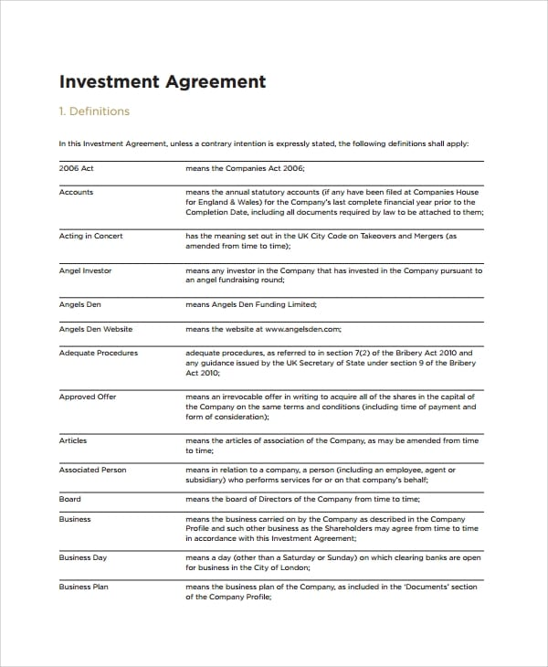 Small Business Investment Agreement for Business Investment Agreements