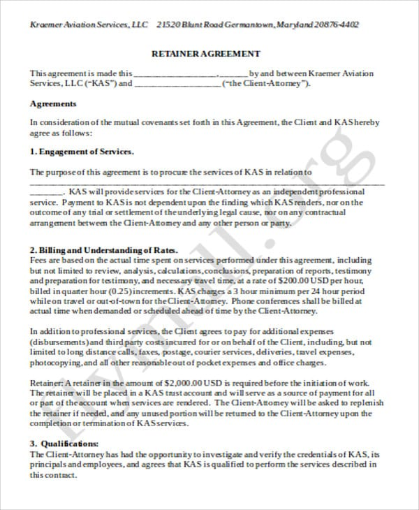 Standard Consulting Retainer Agreement for Consulting Retainer Agreement