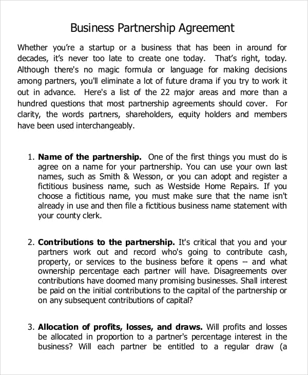 Start Up Business Partnership Agreement for Business Partnership Agreement