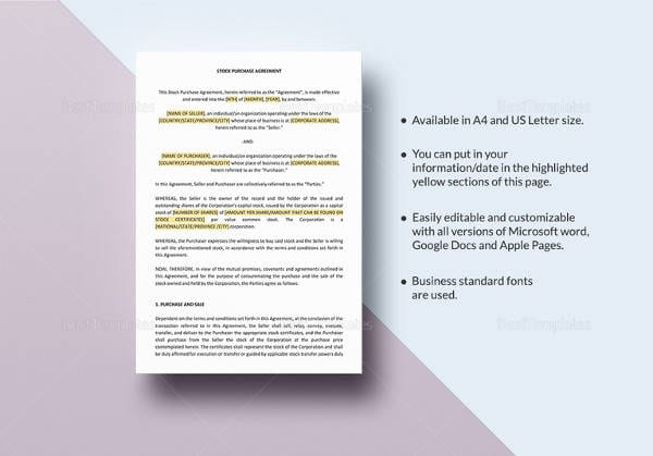 Stock Purchase Agreement Template in Word for Payment Agreement Contract