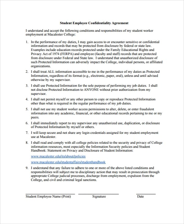 Student Employee Confidentiality Agreement for Sample Employee Confidentiality Agreement