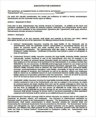 Sub Contractor Agreement Example for Contractor Agreement