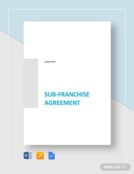 Sub Franchise Agreement Template for Sample Franchise Agreements