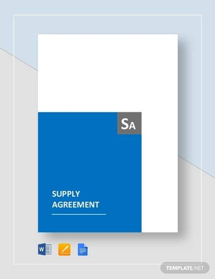 Supply Agreement Template For Supply Agreement Contract