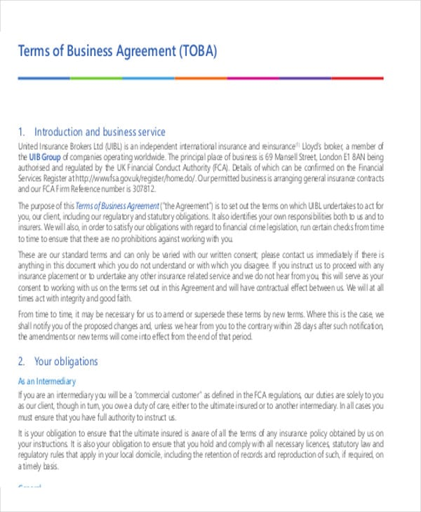 Terms of Business agreement for Business Agreement Sample