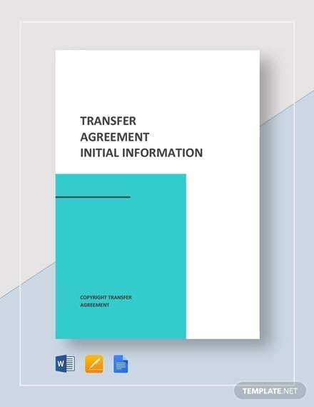 Transfer Agreement Template for Transfer Agreement Templates Pdf Word