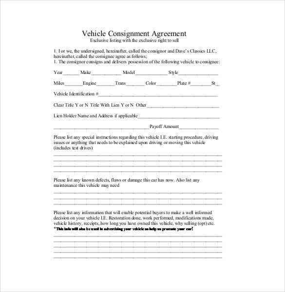 Vehicle Consignment Agreement Contract Template for Consignment Agreement Samples