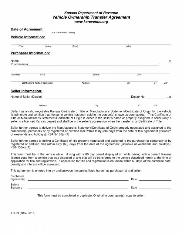 Vehicle Ownership Transfer Agreement Template 1 for Transfer Agreement Template Pdf Word