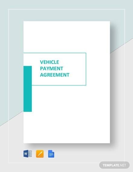 Vehicle Payment Agreement Template for Sample Payment Agreement