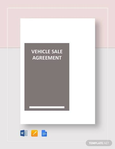 Vehicle Sale Agreement Template for Sales Agreement