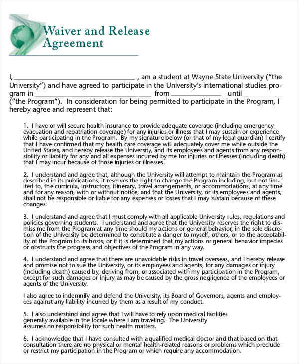 Waiver Release1 for Release Agreements