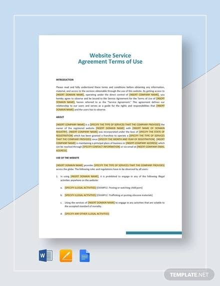 Website Service Agreement Terms of Use Template for Service Agreement