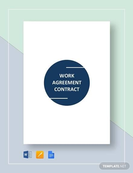 Work Agreement Contract Template for Simple Contract Agreement