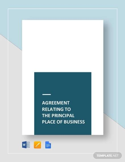 Agreement Relating To The Place Of Business For Sample Business Agreements