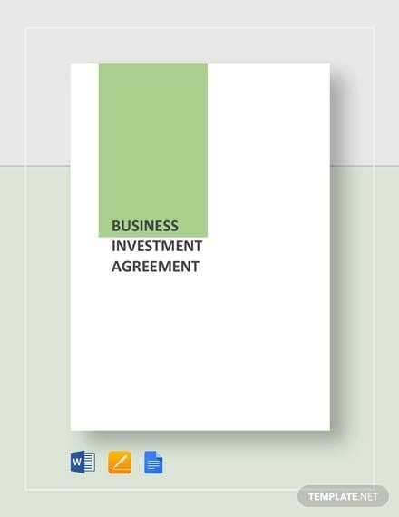 Business Investement Agreement For Business Investment Agreement Template Pdf Word