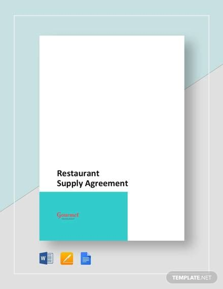 Restaurant Supply For Supply Agreement Contract
