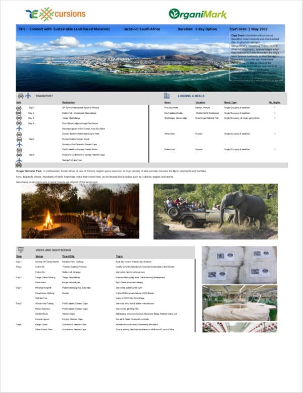 Africa 6 Day Travel Agenda For Sample Agendas