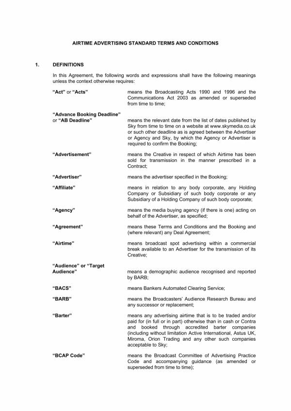Airtime Advertising And Marketing Agreement 01 For Marketing Services Agreement Template Pdf Word