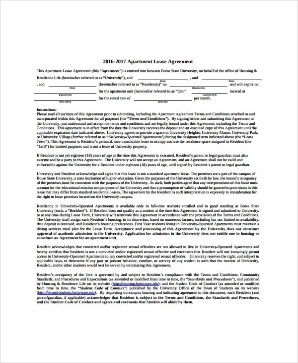 Apartment Lease Transfer Agreement For Apartment Lease Agreements