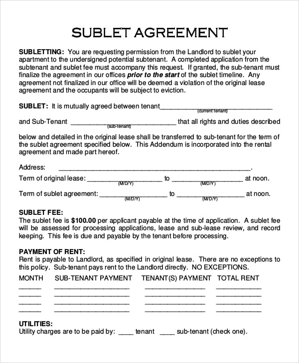 Apartment Sublet Agreement For Dentist Employment Agreement