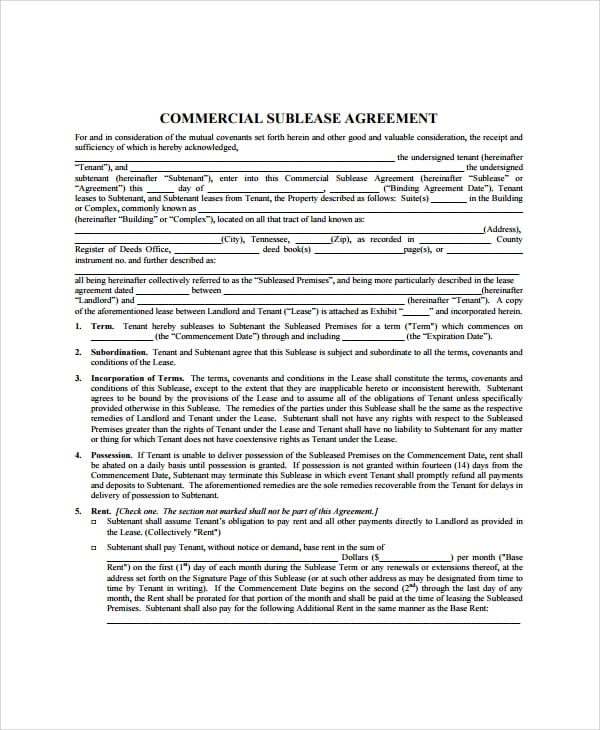 Basic Commercial Sublease Agreement For Commercial Sublease Agreement