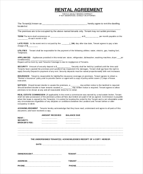 Basic Renters Agreement For Self Employment Agreement