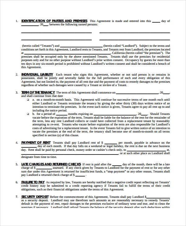Blank Lease Agreement For Lease Agreement