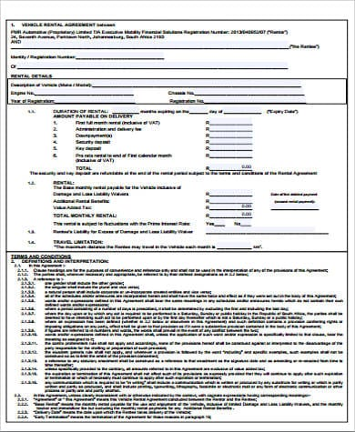 Blank Vehicle Rental Agreement for Printable Rental Agreement