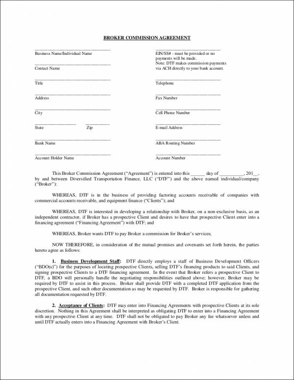 Broker Commission Agreement Template For Sales Commission Agreement Samples