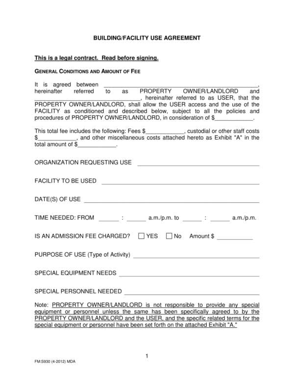 Building Facility Use Agreement Template 1 For Service Terms Agreement